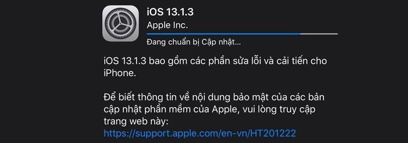 ios 13.1.3 ra mắt cập nhật