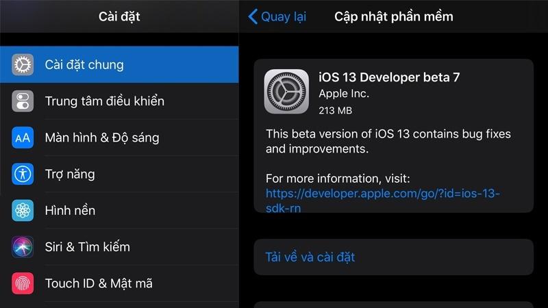 ios 13 beta 7 ra mắt cập nhật