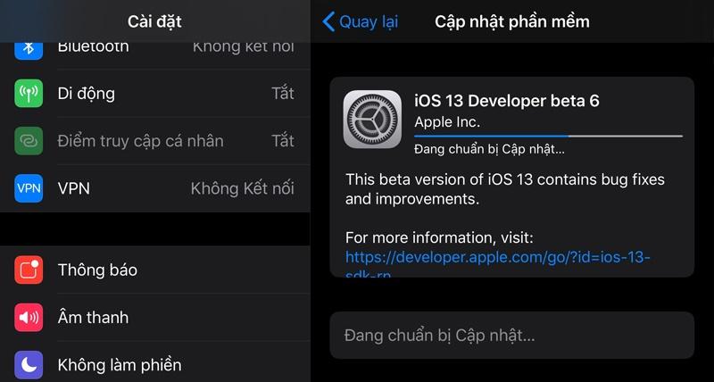 ios 13 developer beta 6 public beta 5 cập nhật