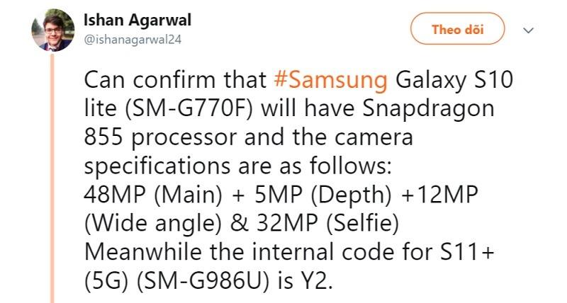 Lộ thông tin về Samsung Galaxy S10 Lite