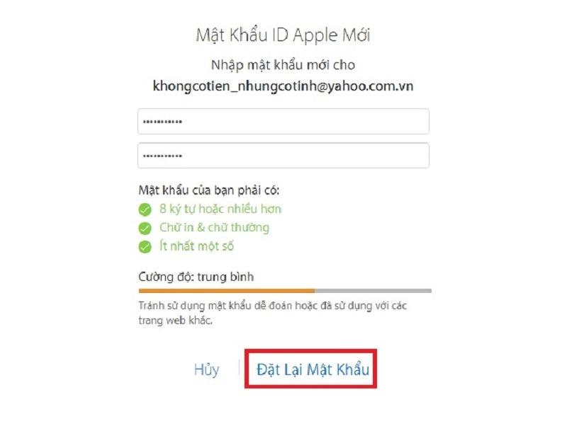 quên mật khẩu apple id bước 4 thành công