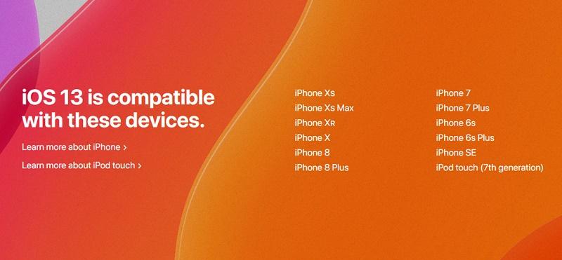 thiết bị nâng cấp ios 13 điện thoại