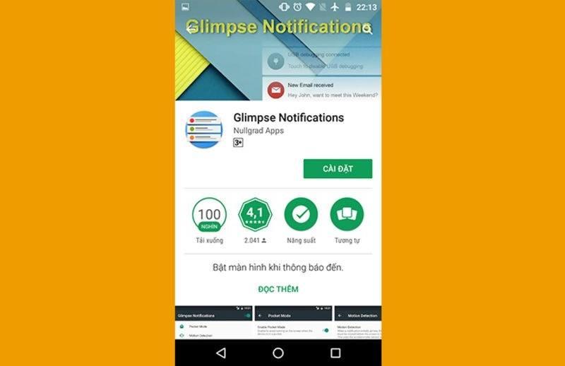 thông báo smartphone android mở sáng
