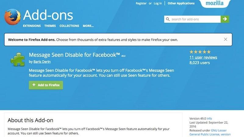 tin nhắn facebook firefox