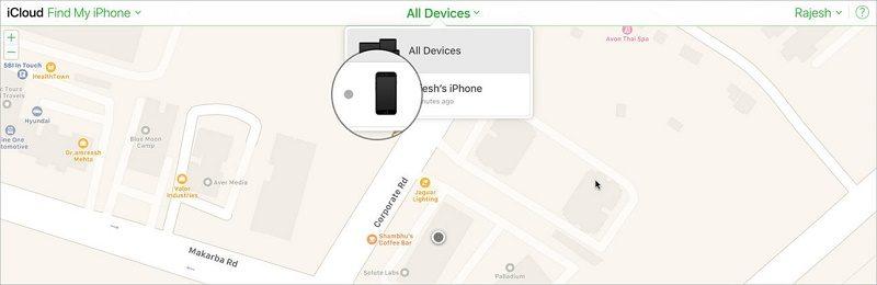 xóa dữ liệu từ xa trên iphone tìm tất cả các thiết bị