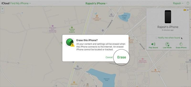 xóa dữ liệu từ xa trên iphone xóa