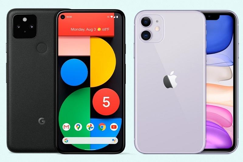 so sánh pixel 5, iphone 11 màn hình