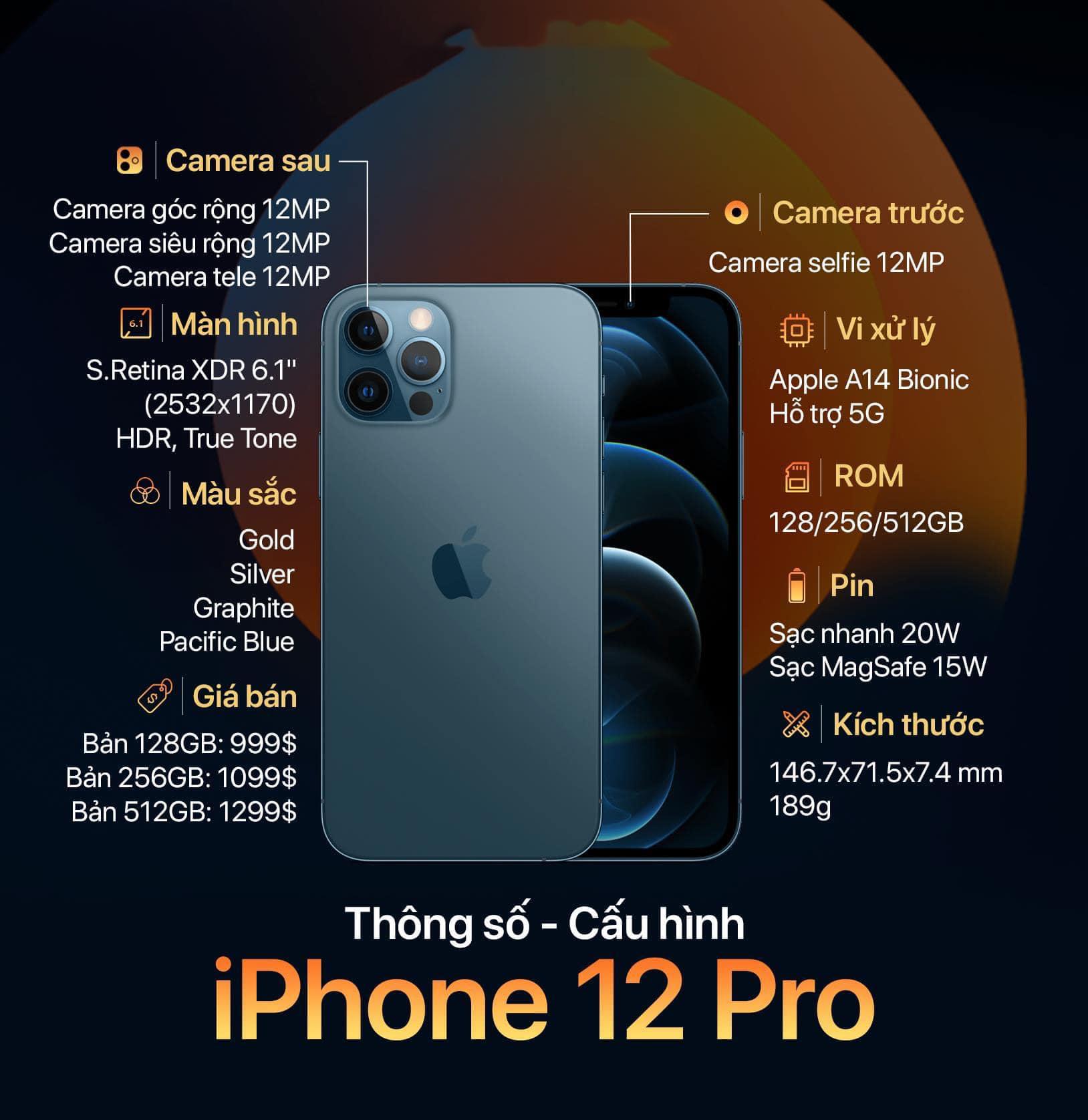 bảng thông số cấu hình iphone 12 pro