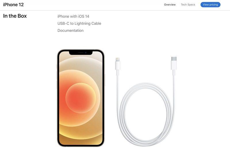 thông tin bộ sạc iphone 12 cáp