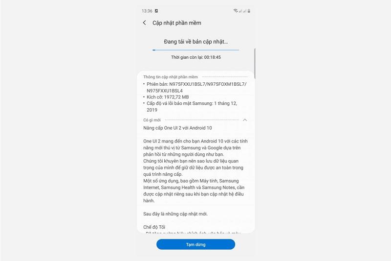 galaxy note 10 việt nam cập nhật android 10